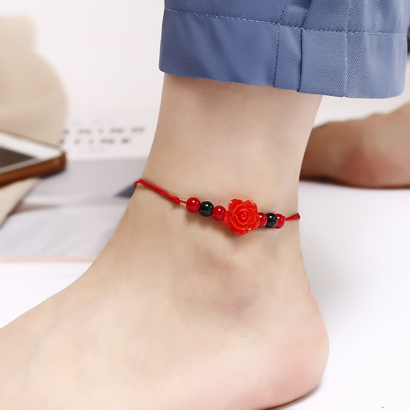Cherry Red Rope Anklets for Casual Outfits