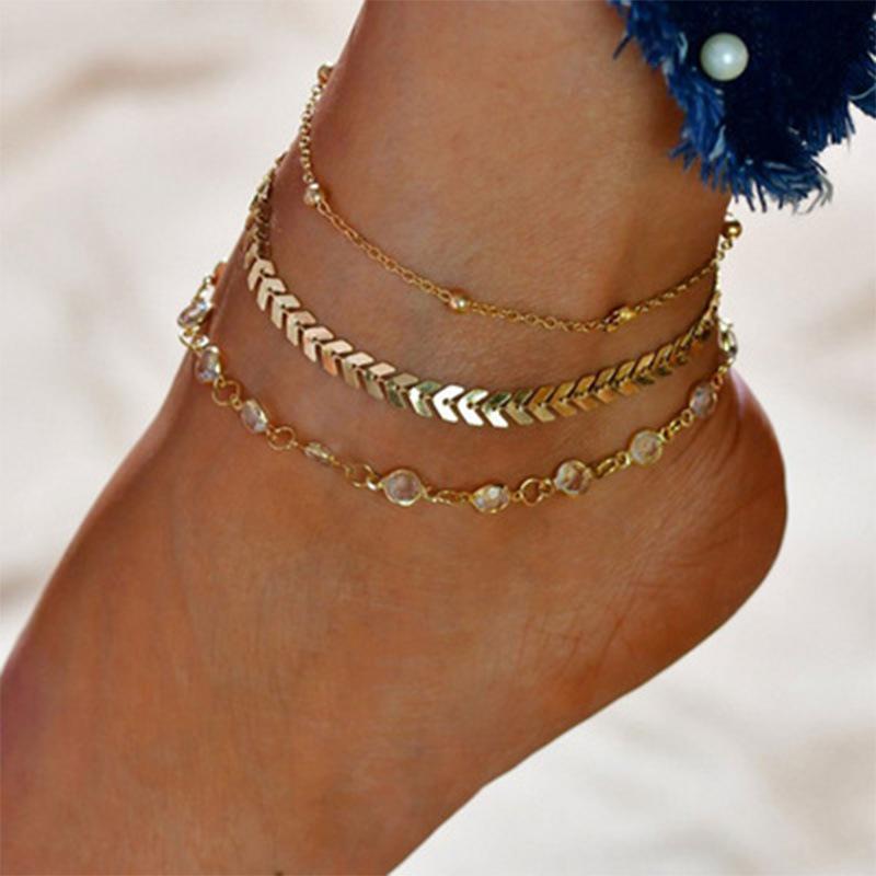 Alia Golden Anklet Set (3 Pieces/Set)