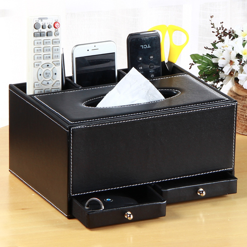 Fashionable Multifunctional Faux Leather Tissue Holder for Elegant Vibe Tables