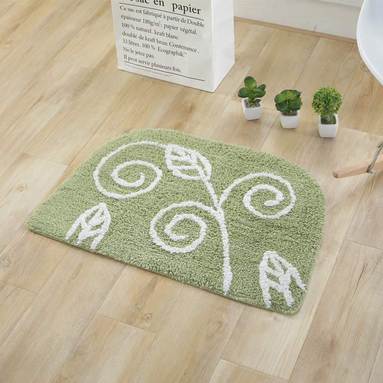 Decorated Leaves Design Floor Mat for Bathroom and Front Doors