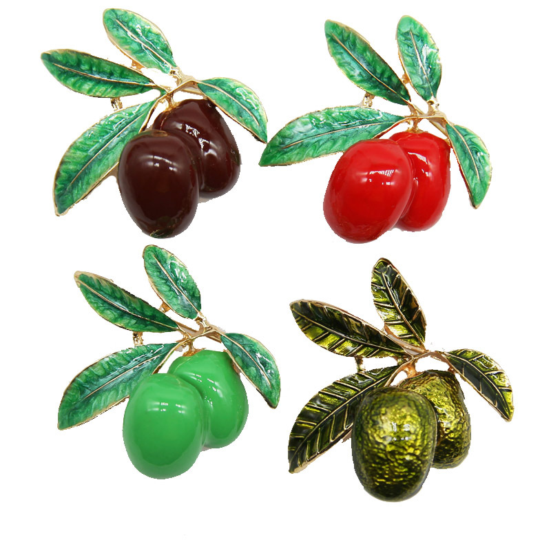 Eye-Catching Olive Brooch for Stylish Scarf Pin