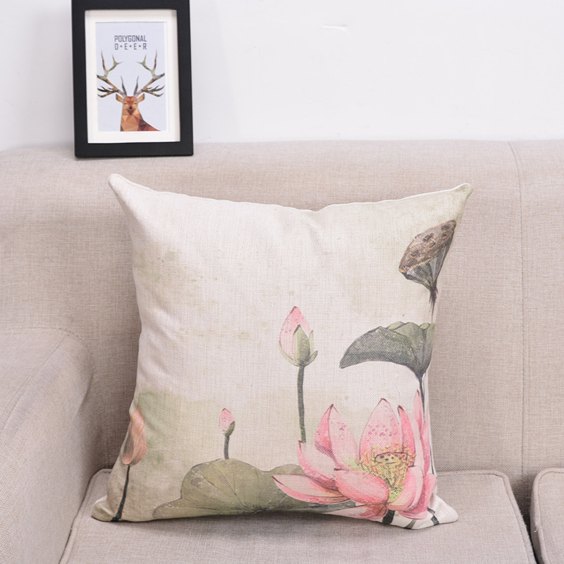 Heavenly Floral Flax Pillow for Living Room Sofas