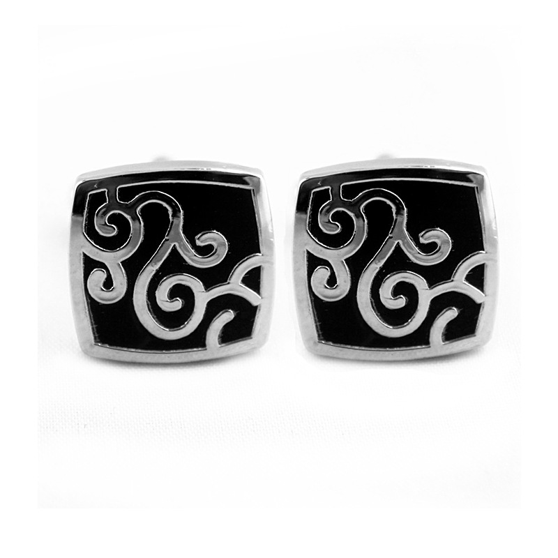 Decorative Silver Swirl Tile Cufflinks for Neat Cuffs