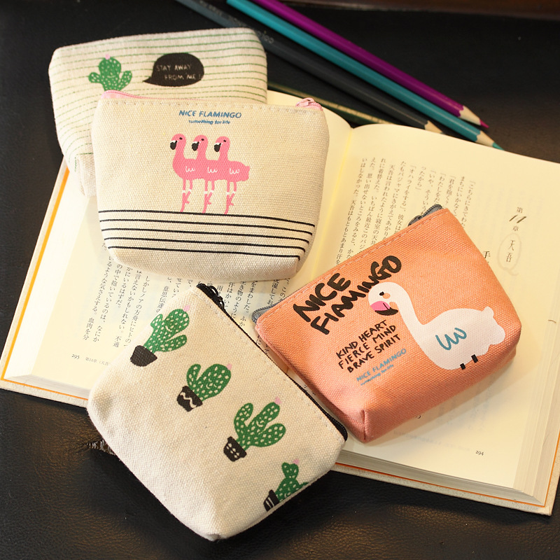 Cute Canvas Animal Print Minimalist Coin Purse for Women and Girls