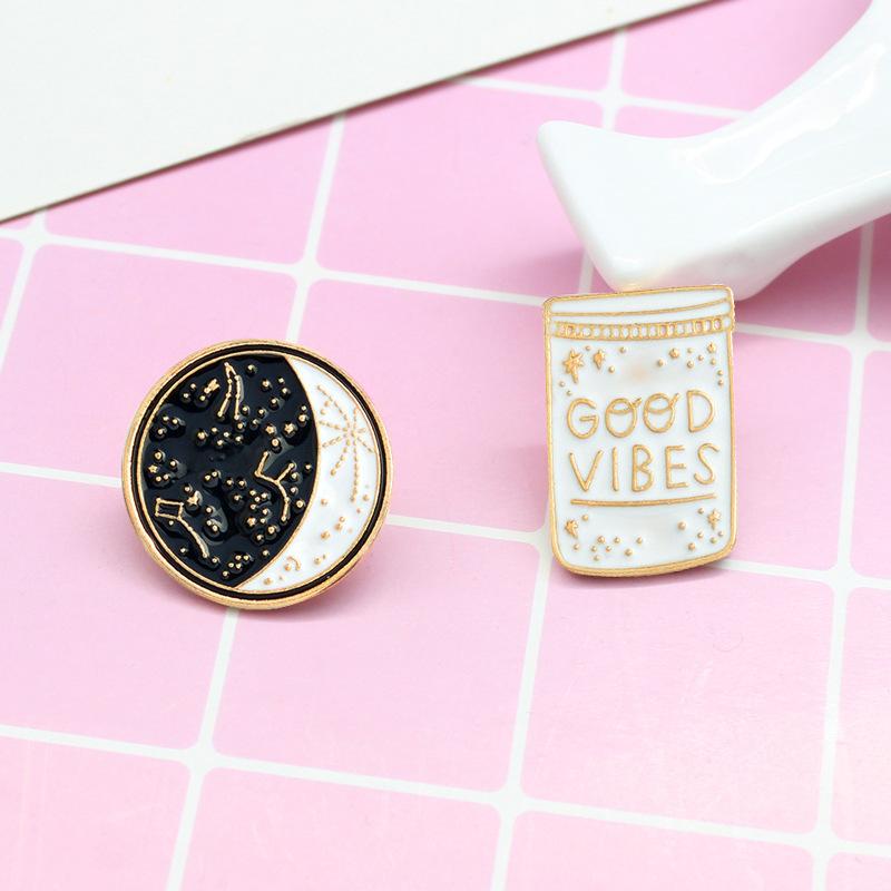 Good Vibes Jar and Moon Pins