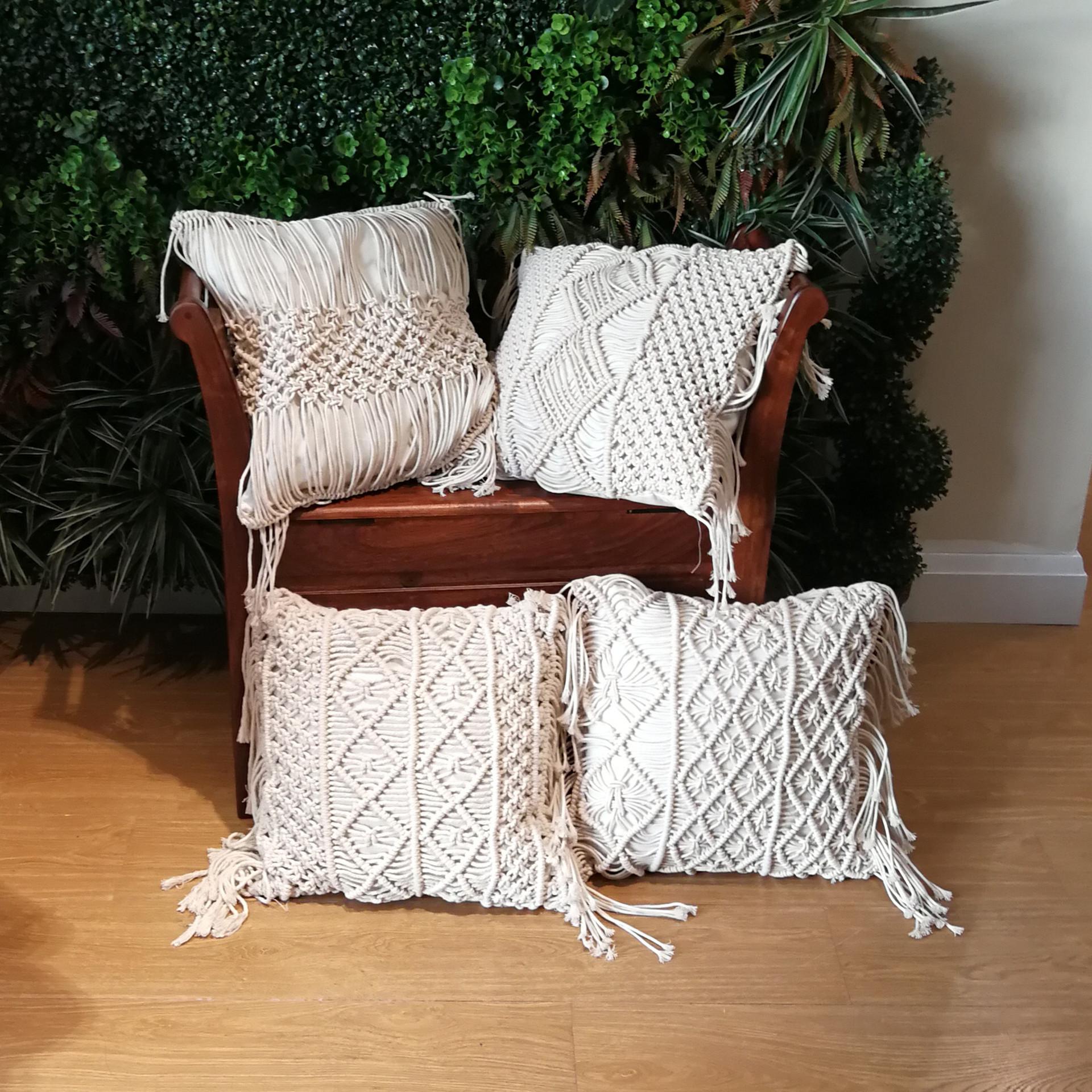 Hand Woven Bohemian Pillow for Living Room Sofa