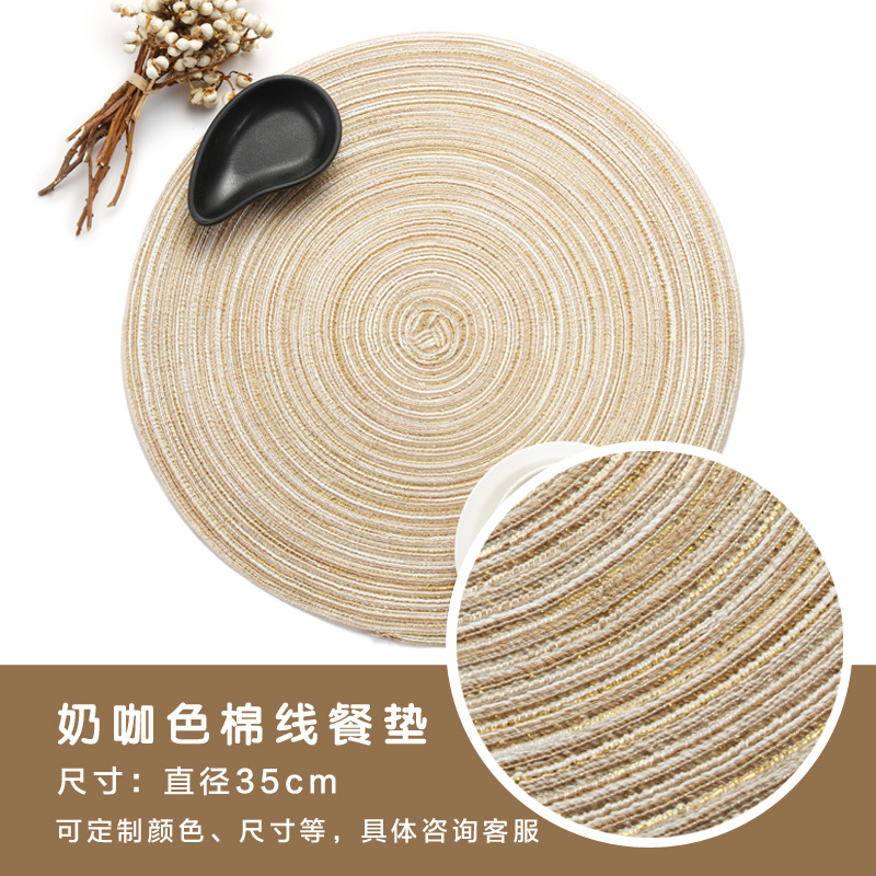 Basic Round Cotton Yarn Placemat for Dining Table Stain Protection