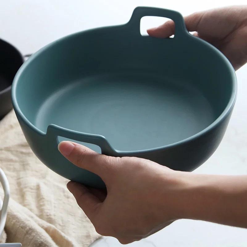 Porcelain Serving Bowl with Handles
