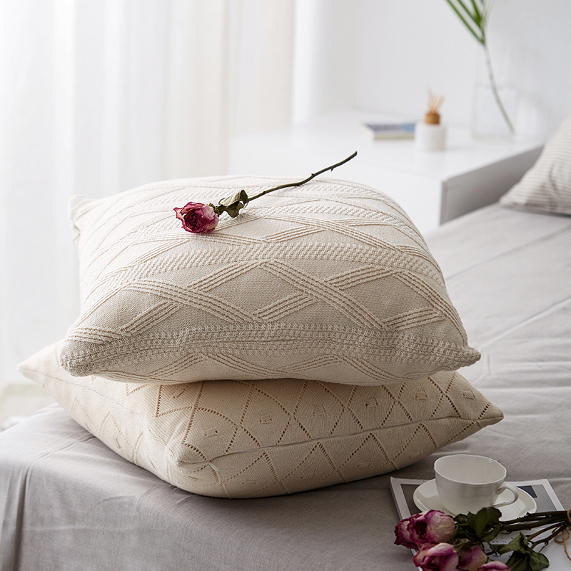 Nordic Knitted Cotton Pillow Case