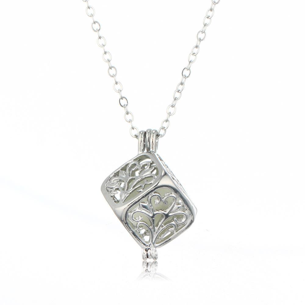 Luminous Hollow Cube Necklace