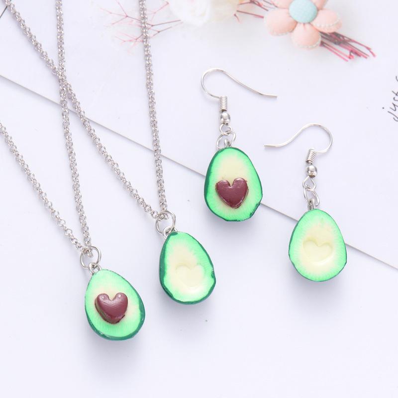 Heart Avocado Necklace/Earrings