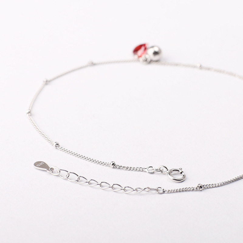 Red Crystal Heart and Silver Bell Anklet