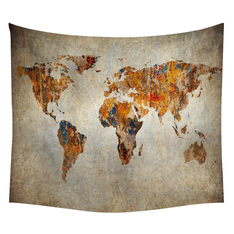 World Map Tapestry for Wall Backdrop