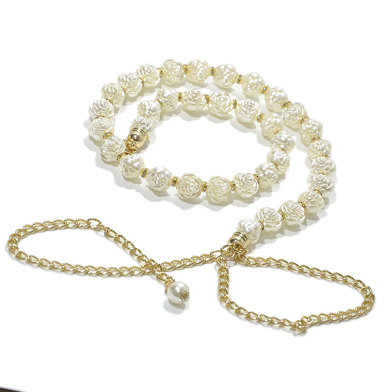 Elastic Pearl Waist Chain for Ladies