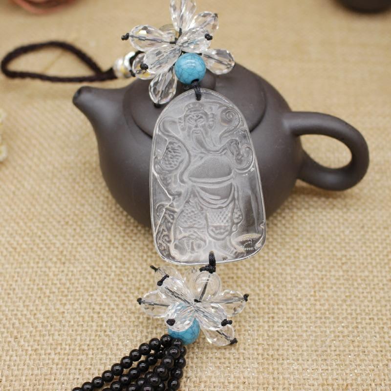 Glass Buddha Mirror Charm for Car Decor