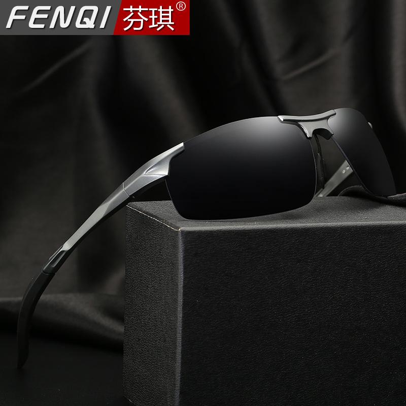 Fashionable Square Aluminum-Magnesium Framed Polarized Sunglasses for Men's Outdoor Use