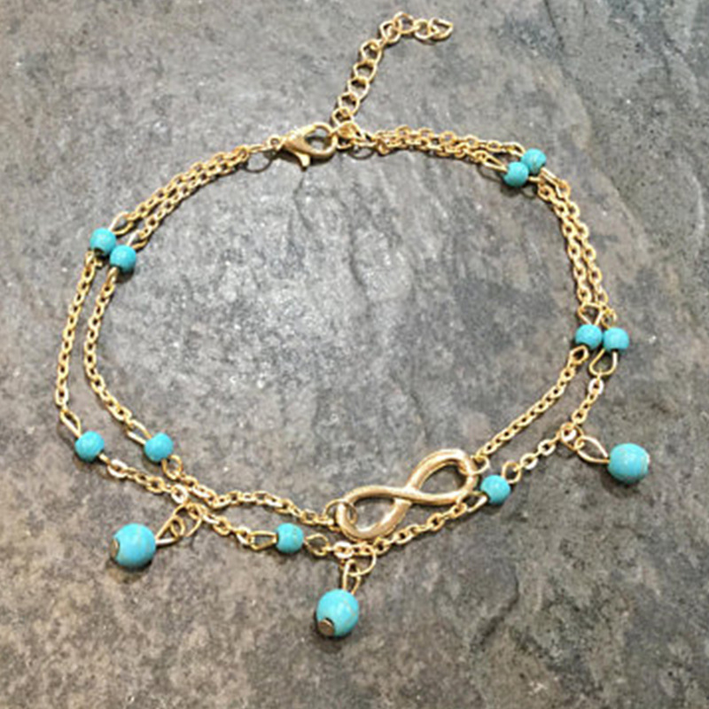 Infinity and Blue Crystals Double Layer Chain Anklet