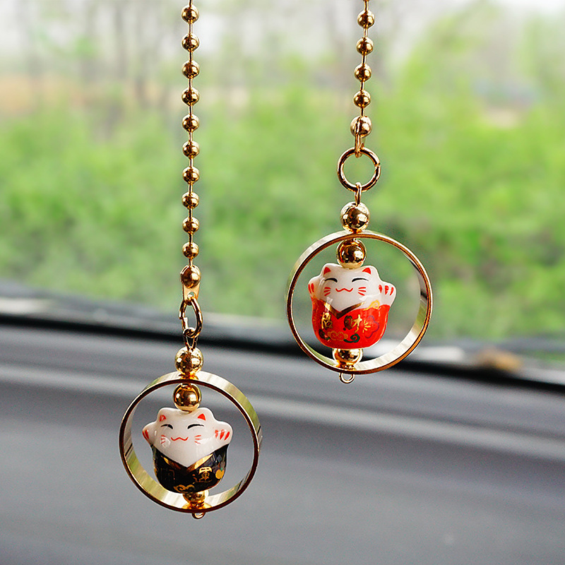 Adorable Lucky Cat Pendant for Car Decoration