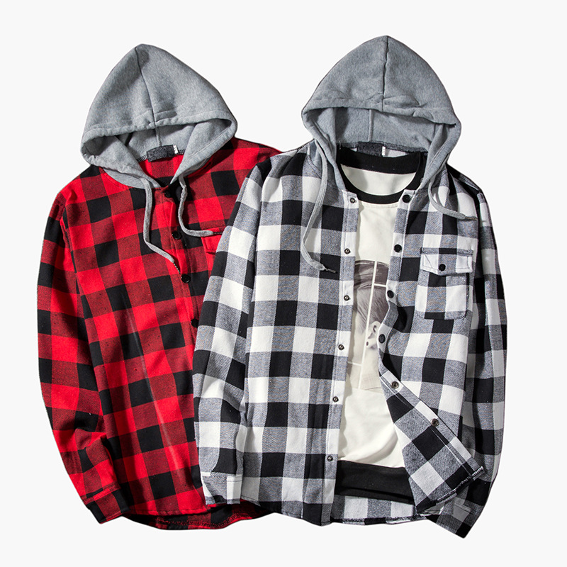 Buffalo Check Plaid Snap Button Hoodie for Casual Layered Looks