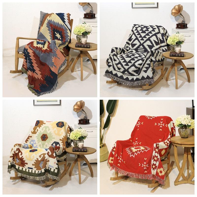 Artistic Double-Sided Tassel Blanket for Sofa Decoration