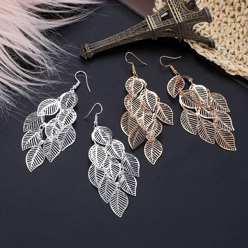 Hollow Leaves Chandelier Earrings