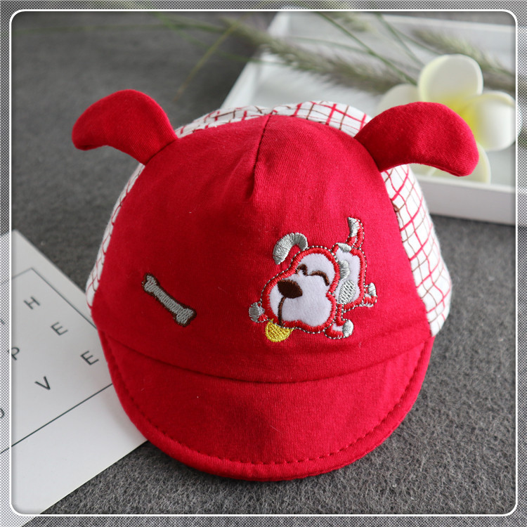 Kawaii Embroidery Baby Cotton Baseball Cap with Puppy Embroidery for Comfy Days