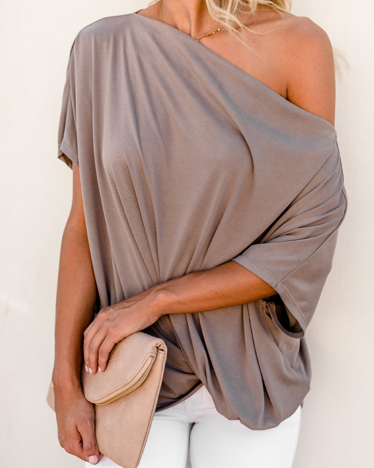 Silky One-Shoulder Colored Top for Greek Goddess Vibes