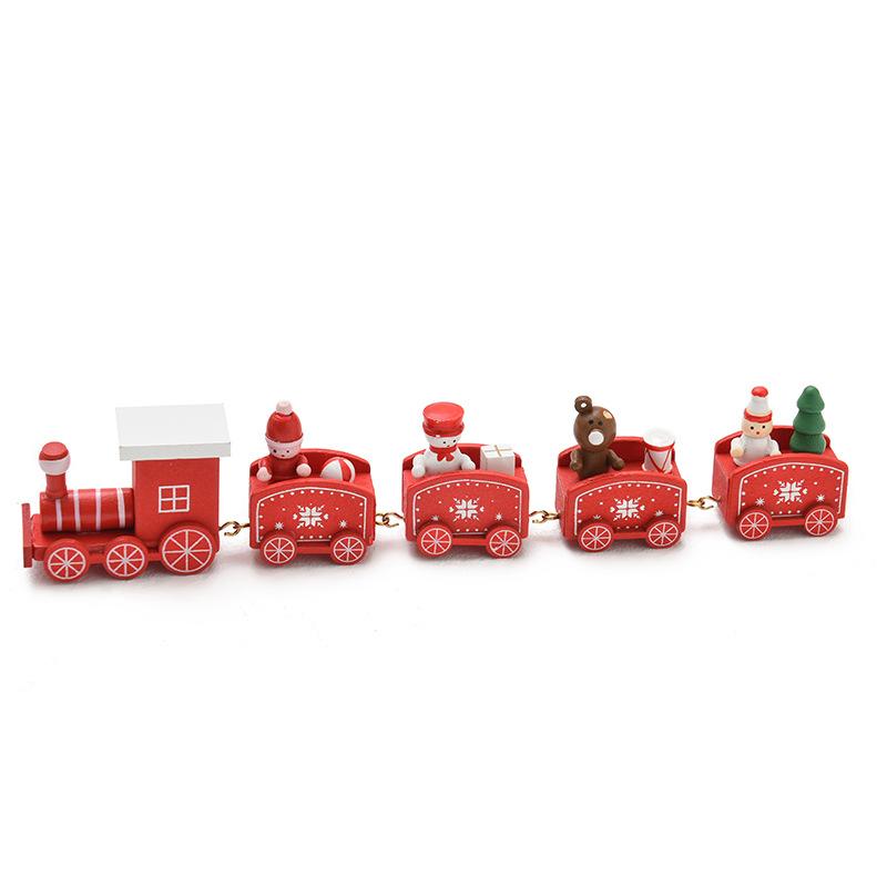 Joyous Wooden Christmas Train for Christmas Decor
