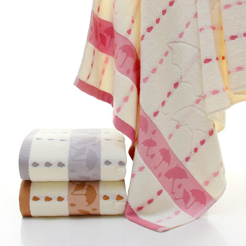 Umbrellas and Raindrops Thick Cotton Towel for Bath Use