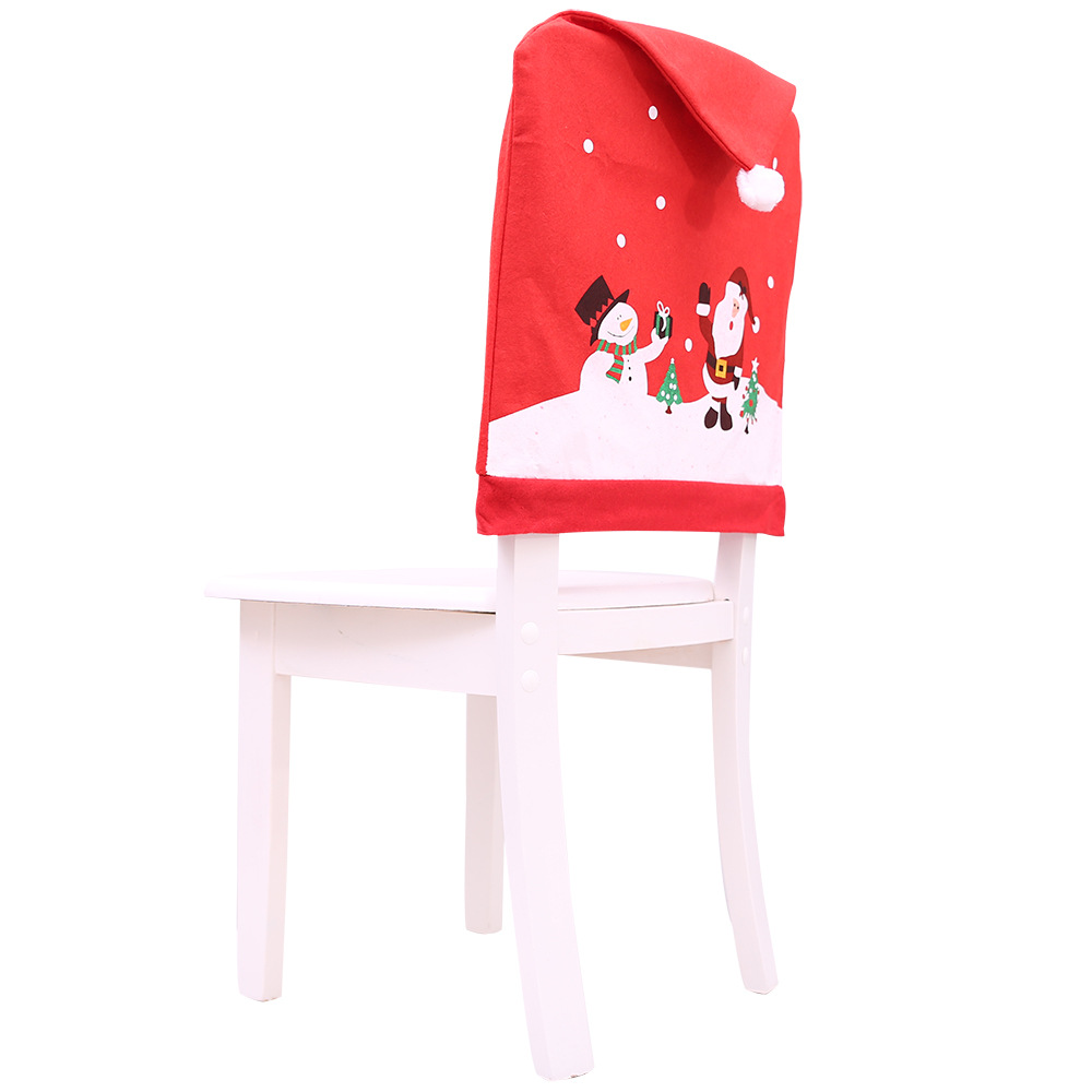 Joyous Red Christmas Chair Cover for Holiday Decorations