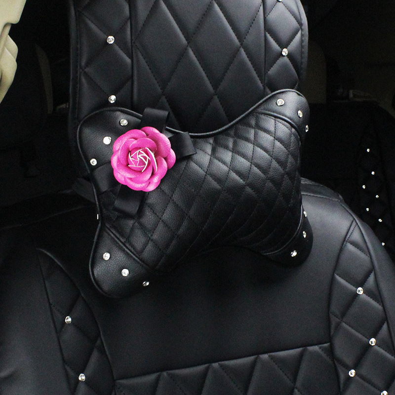 Camellia PU Leather Neck and Waist Pillow for Elegant Car Seats