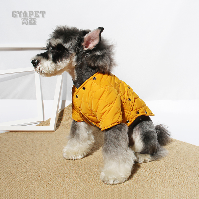 Puffy Yellow Dog Vest for a Stylish Look