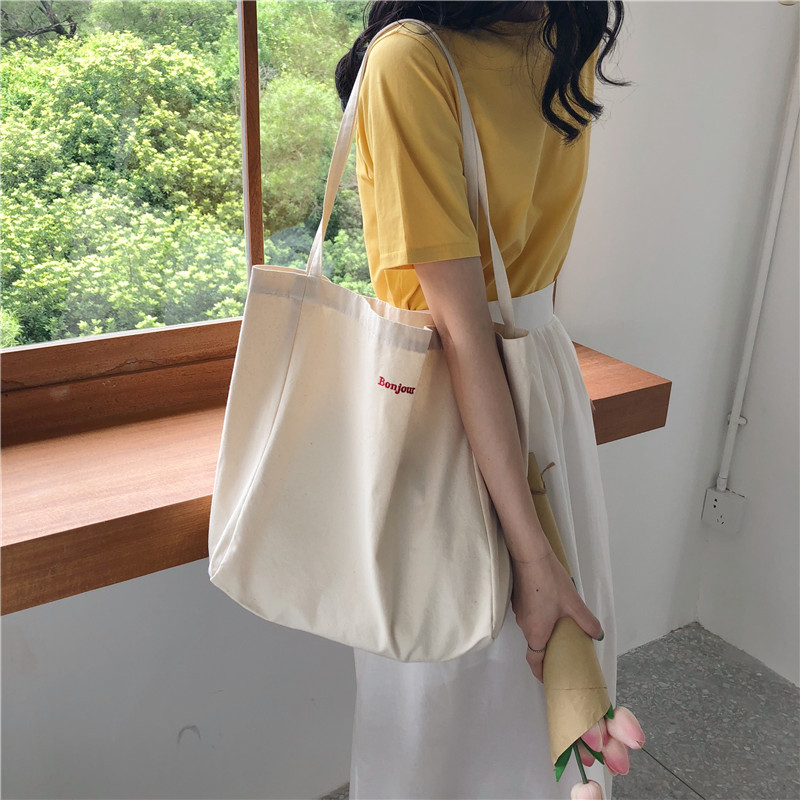 """Tiny """"Bonjour"""" Statement Foldable Cloth Bag for Shopping"""