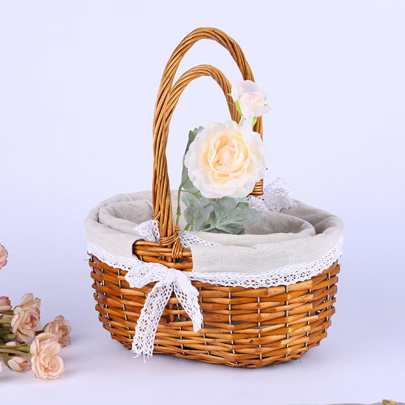Lovely Hand Held Straw Basket for Wedding Event Flower Girls Entourage