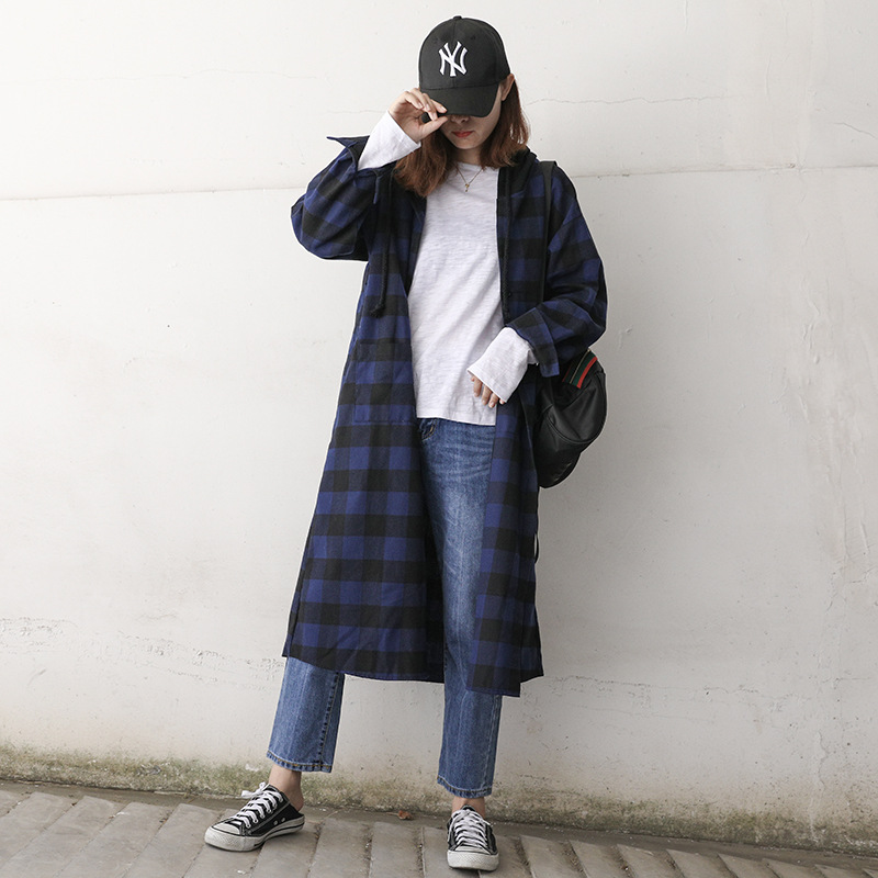 Cool Plaid Hooded Cardigan for Street Style Looks