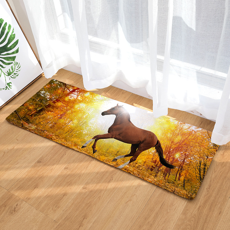 Horses and Zebras Floor Mat