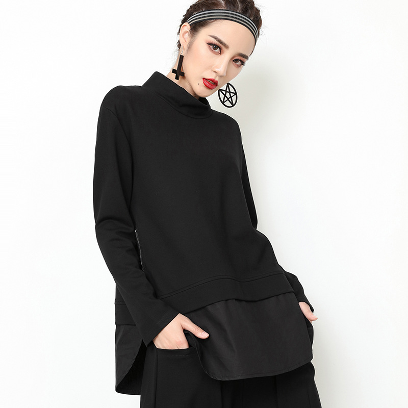 Edgy Long Sleeve Top with Side Zipper for Alternative Style