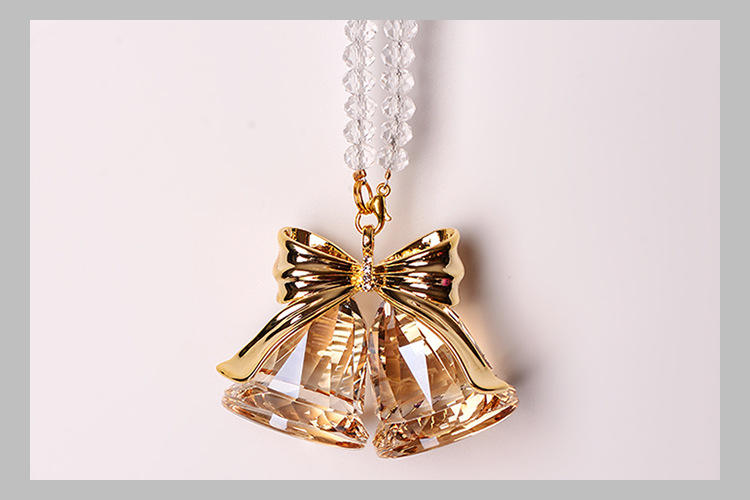 Double Crystal Bell with Golden Hue Ribbon Design Car Pendants for Fabulous Decorations