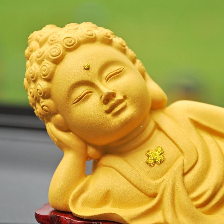 Resting Resin Sand Gold Buddha for Car Interior Decoration