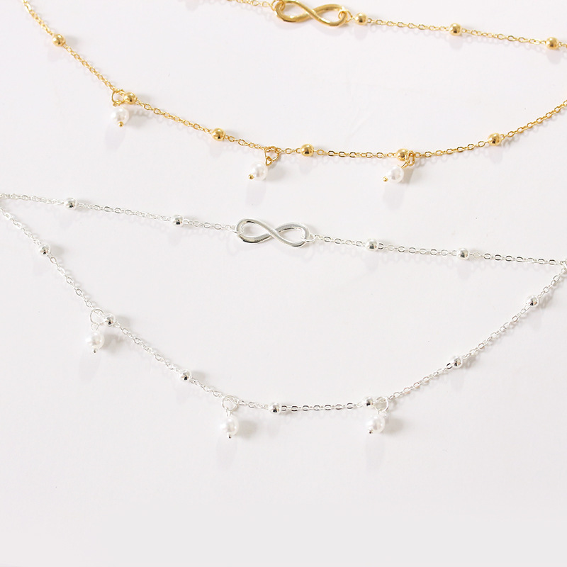 Infinity and Round Beads Double Chain Anklet