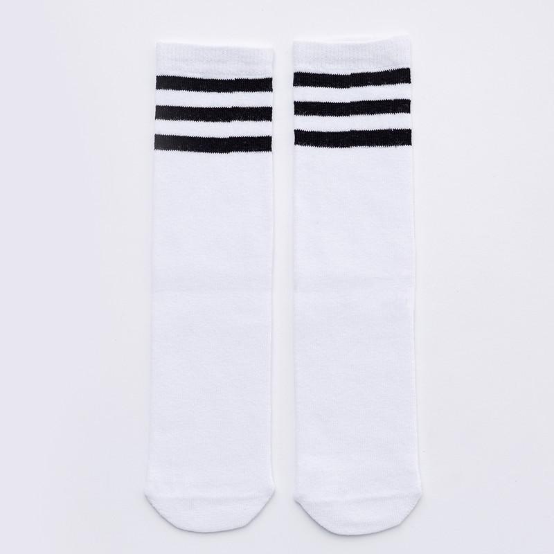 Striped White High Knee Socks for Little Girls