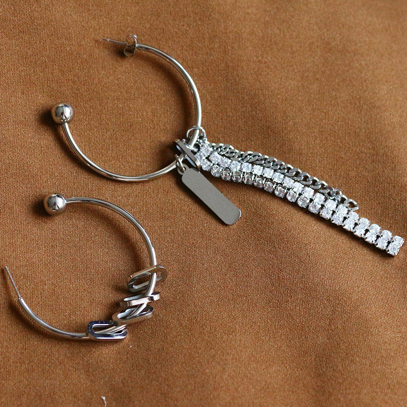 Asymmetric Faux Hoop Earrings for Punk Style Outfits