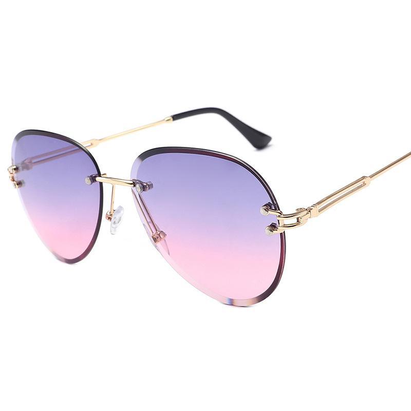 Frameless Edgy Aviator Sunglasses