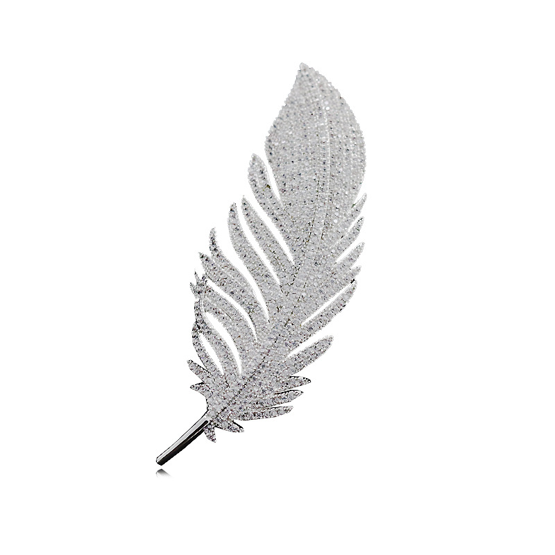 Bedazzled Feather Brooch