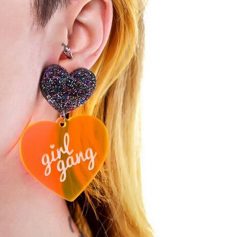 Girly Glittery Heart Earrings