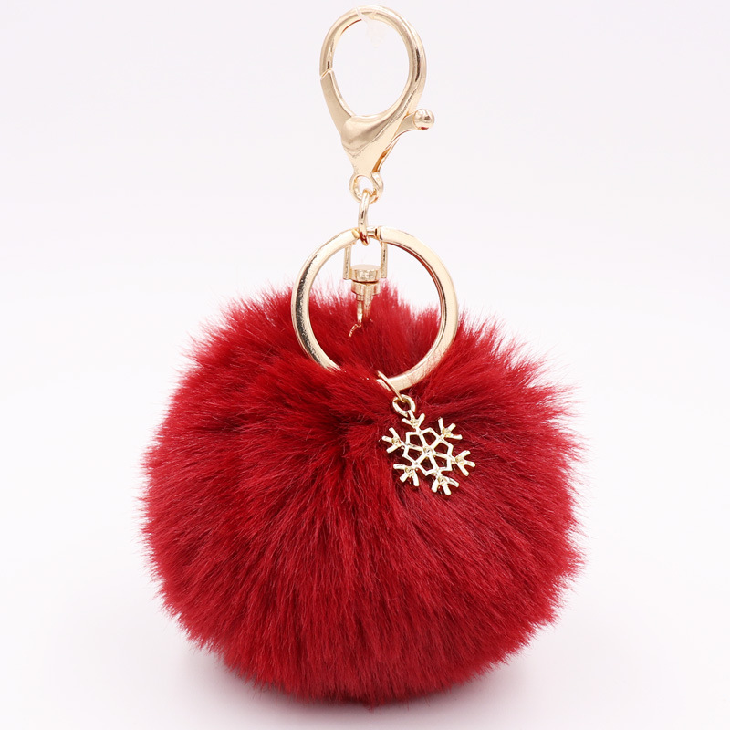 Soft Pom and Sparkly Snowflake Bag Charm and Keychain Ring for Holding Keys Safely