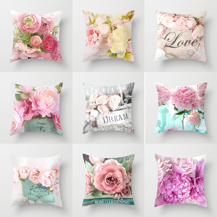 3D Print Floral Polyester Throw Pillow Case for Elegant Sofa Sets