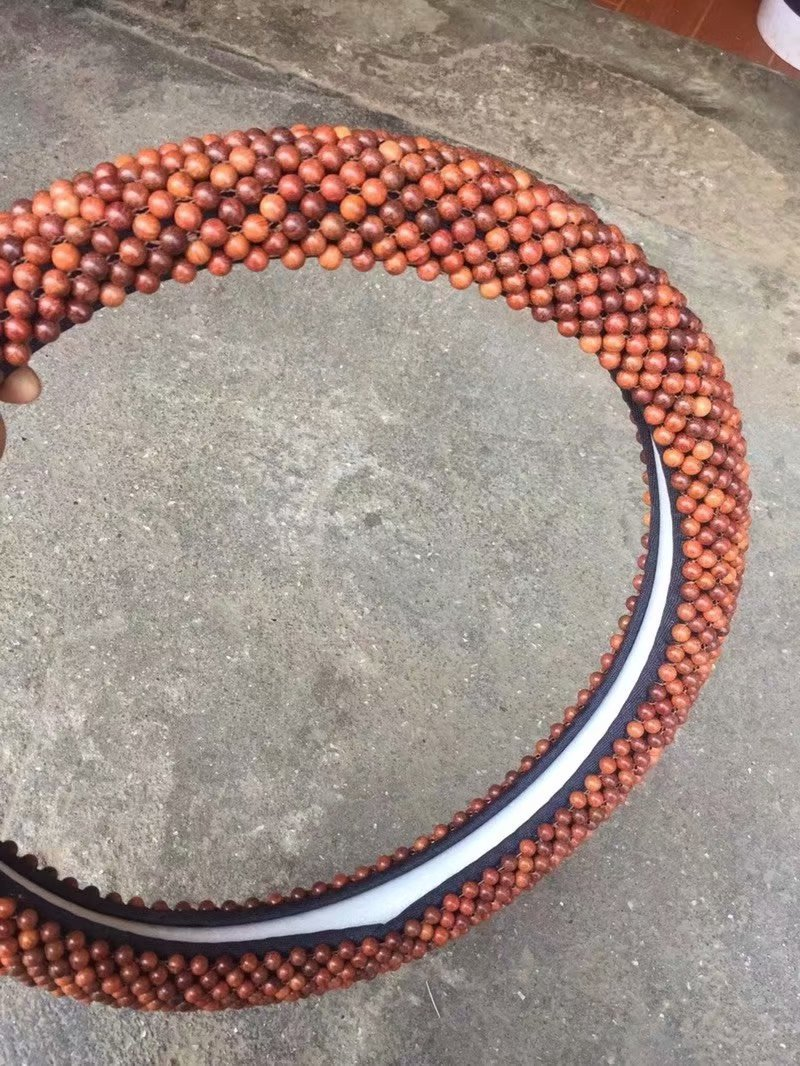 Cool Beaded Mahogany Steering Wheel Cover for Modern-Styled Car Accessory