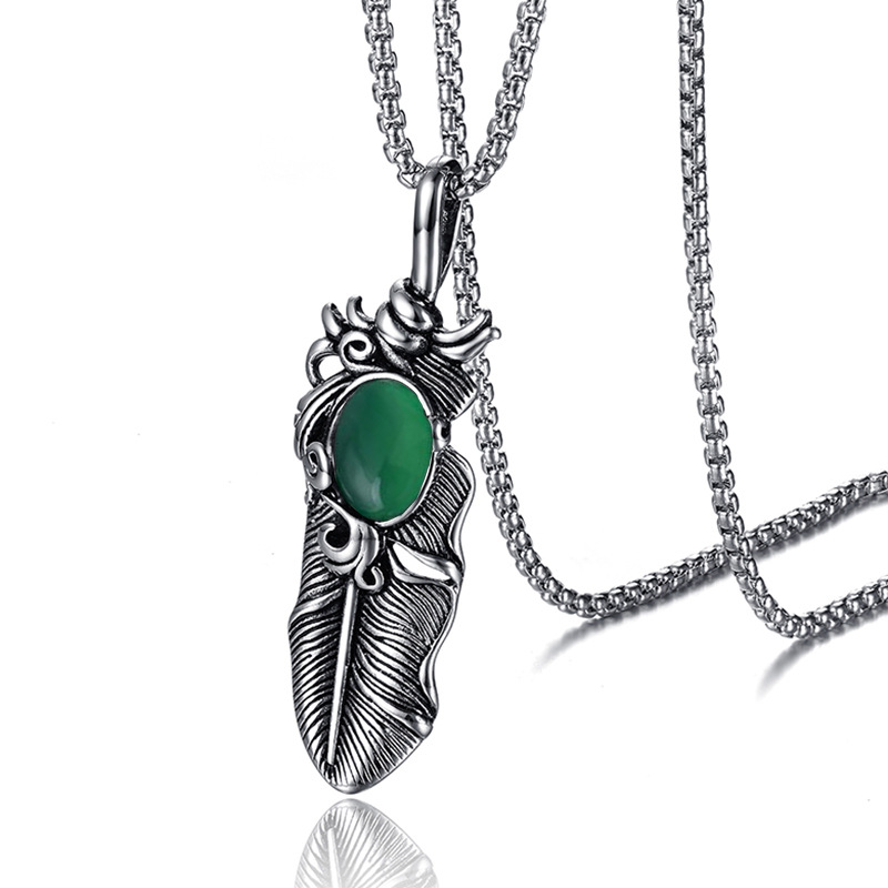 Cool Stainless Steel Feather Pendant Chain Necklace for Men's Fashion Wear
