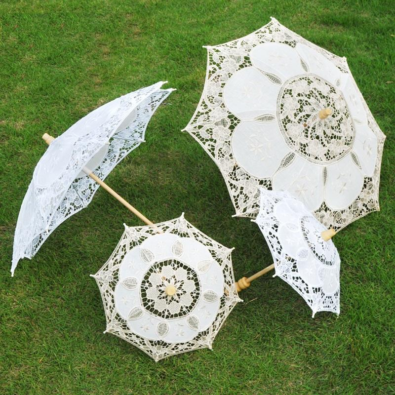 Lace with Wooden Handle Wedding Umbrella